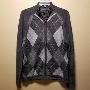 Men's Zip Up Argyle Sweater